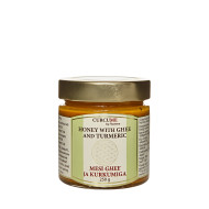 """MESI GHEE JA KURKUMIGA ühendab endas väekaks seguks mee, ghee(selitatud või), kurkumiinirikka kurkumi ja musta pipra parimad omadused. Ajurveda meditsiin soovitab tarvitada kurkumit paremaks omastamiseks just koos selitatud võiga, mida nimetatakse Indias ka """"aju toiduks"""". Ghee põimib tervikuks soolestikule ülikasulikud lühikese ahelaga rasvhapped, A-, E-, D- ja K2 vitamiinija konjugeeritud linoolhappe.Ghee ei sisalda kaseiini, vadakut ega laktoosi, sobides nii ka paljudele neile, kel muidu piimatoodete tarbimine vastunäidustatud. Toote näol on tegu vaimustava kombinatsiooniga, mis sobib keha toetama nii haiguste ennetamiseks kui leevendamiseks.  250 g purk"""